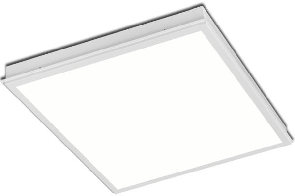 Recessed modular LED lighting. Metal ceiling.