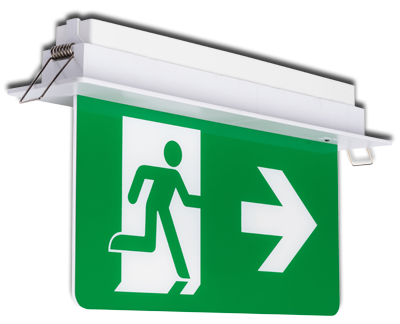 Recessed emergency exit sign